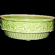Vintage McCoy Green Glaze Yellow Ware Green Parade of Elephants Bulb Planter Bowl