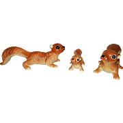 Vintage Made in Japan Ceramic Artmark Brown Squirrel Figurines