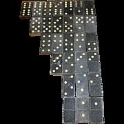 Vintage Airplane Embossed Wooden Double Six Dominoes