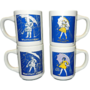 Vintage Morton Salt Girl Advertising Coffee Mug Set