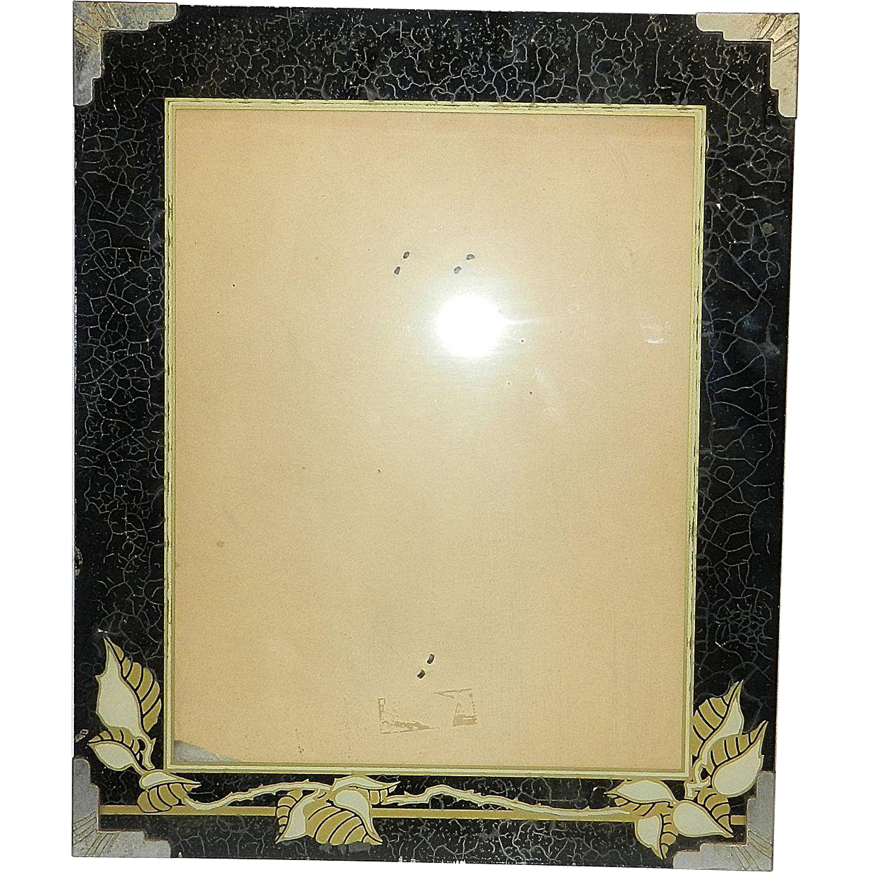 Vintage Art Deco Picture Frame Reverse Painted Glass From