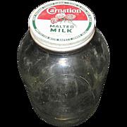Vintage Carnation Malted Milk Glass Jar