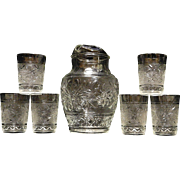 Vintage Anchor Hocking Sandwich Glass Pitcher and Glass Set
