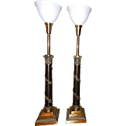 Vintage Stiffel Neoclassical Brass Table Lamps