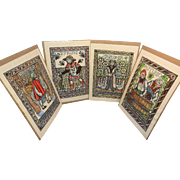 Vintage Mary Azarian Medieval Hand Painted Woodcut Prints of the Four Seasons