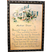 Vintage Framed Gibson Lithograph Mother's Poem