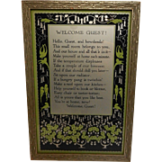 Vintage Framed Welcome Guest Poem