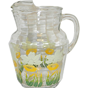 Vintage Anchor Hocking Floral Pattern Glass Pitcher