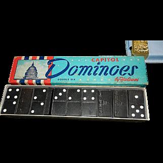 Vintage Halsam Double Six U.S. Capitol Embossed Wooden Dominoes