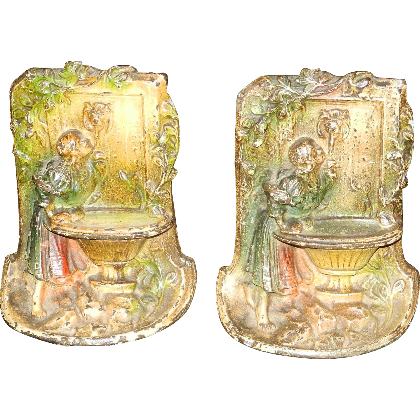 Hubley Polychrome Cast Iron Bookends Young Girl At The -1854