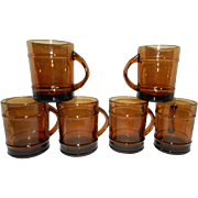 Vintage Anchor Hocking Fire King Amber Barrel Coffee Mugs