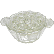 Vintage Jeannette Glass Depression Glass Clear Floral Frog