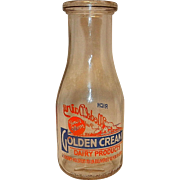 Vintage One Pint Golden Cream Dairy Milk Bottle