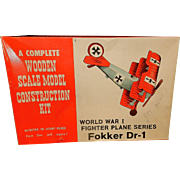 Vintage World War I Fokker D-1 Fighter Wooden Model Plane