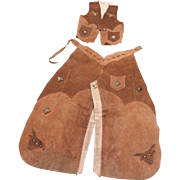 Vintage Keyston Brothers Lassoem' Bill Children's Leather Vest and Chaps