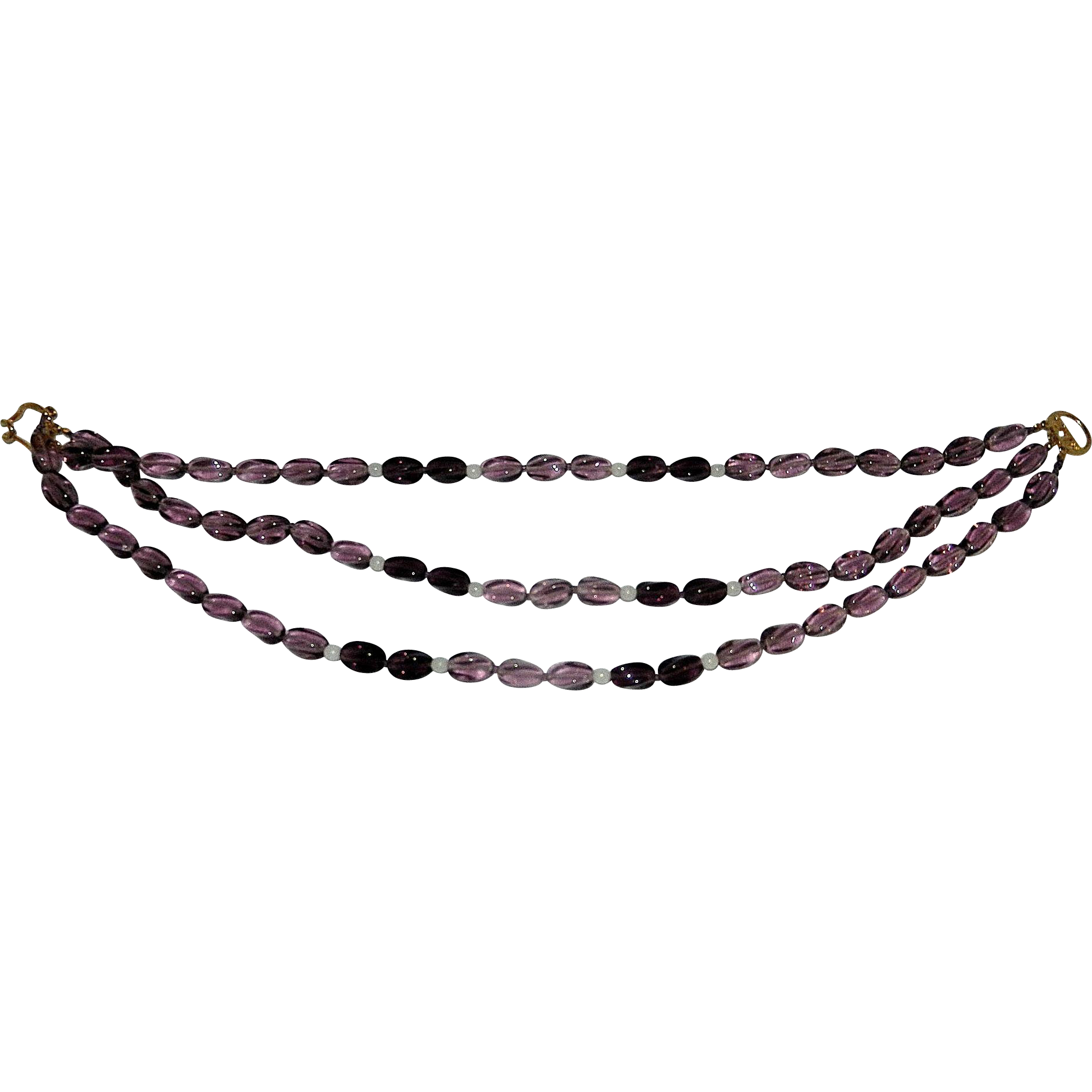 Vintage K J Lane Amethyst Triple Strand Beaded Necklace