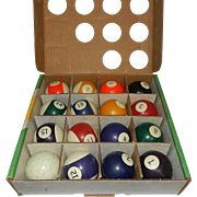 Vintage Clay Set of Billiard Balls by American