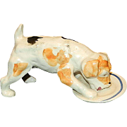 Vintage Japan Porcelain Drinking Dog Figurine