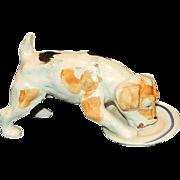 Vintage Japan Porcelain Drinking Dog Figurine