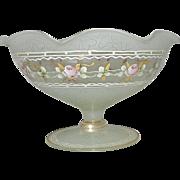 Vintage Heisey Footed Floral Compote