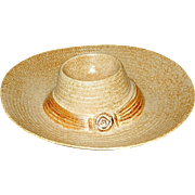 Vintage Treasure Craft Pottery Straw Hat Chip and Dip Bowl