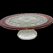 Vintage Kings Crown Ruby Red Footed Cake Plate