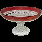 Vintage Kings Crown Ruby Red Footed Bowl