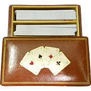 Vintage Leather Embossed Playing Card Case