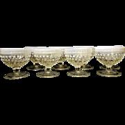 Vintage Anchor Hocking Hobnail Moonstone Clear Opalescent Footed Champagne/Sherbet Glasses