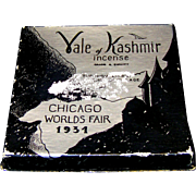 Vintage 1934 Chicago World's Fair Vale of Kashmir Incense