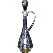 Vintage Etched Floral Pattern Glass Wine Decanter Pitcher