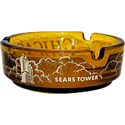 Vintage Chicago Sears Tower Glass  Ashtray Souvenir