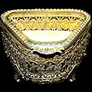 Vintage Stylebuilt Gold Gilt Filigree Ormolu Jewelry Casket
