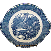 Vintage Currier & Ives Rocky Mountains Pattern Handled Cake Plate