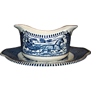 Vintage Currier & Ives Blue Gravy Boat By Royal China