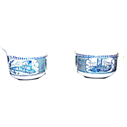 Vintage Currier & Ives Blue Sugar & Creamer By Royal China