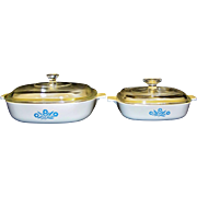 Vintage Corning Cornflower Blue Casserole Duo