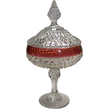 Vintage Indiana Glass Company Diamond Point Ruby Lidded Compote