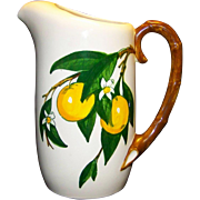 Vintage Metlox Poppytrail California Fruit Pattern Ceramic Pitcher