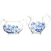 Vintage Blue Nordic China Sugar & Creamer Set In Blue Onion Pattern By Johnson Brothers