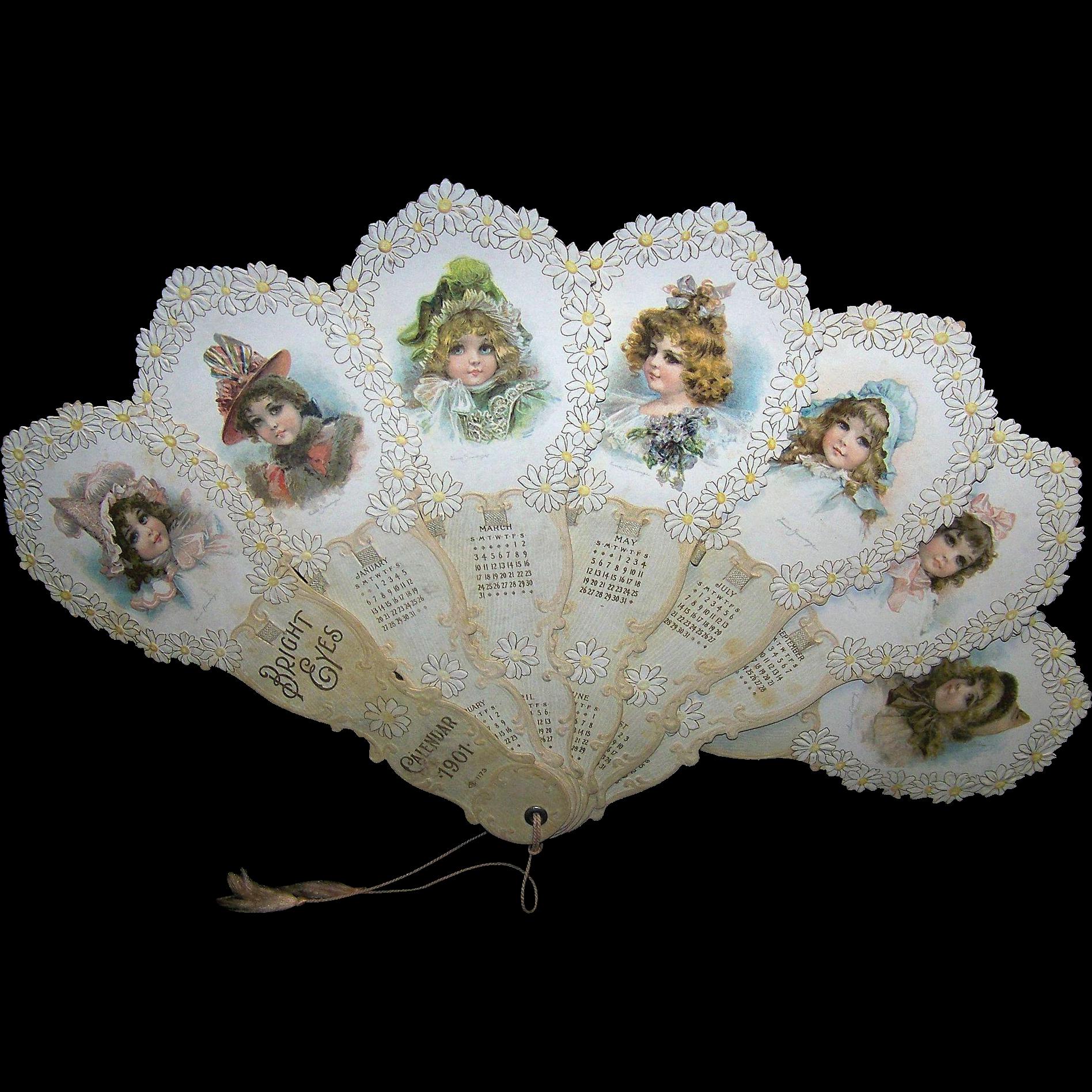 Framed Vintage 1901 Bright Eyes Calendar Girls Paper Fan