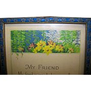 Vintage Art Deco Framed Color Print Of My Friend Poem