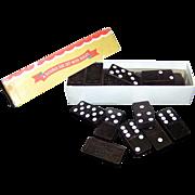 Vintage Magna Embossed American Eagle Wooden Domino Set