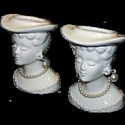 Vintage Porcelain Victorian Half-Head Lady Toothpick Holders