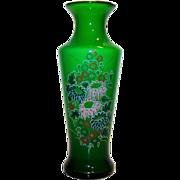 Vintage Bristol Green Glass Hand Painted Floral Vase