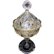 Vintage Hofbauer Byrdes Collection Clear Crystal Covered Candy Dish