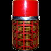 Vintage 1955 Aladdin Red Yellow Black Plaid Thermos
