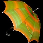 Vintage Ladies Multi-Striped Umbrella