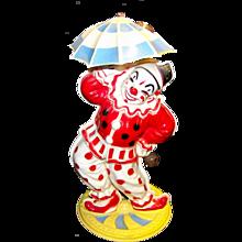 Vintage Wind-Up Mechanical Plastic Bimbo Dancing Clown By Irwin Toys