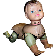 Vintage 1960's ROSKO Call Me Baby Crawling Doll